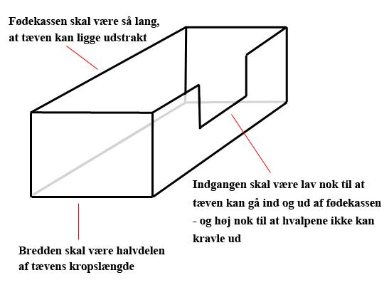 Illustration af en fødekasse til hunde